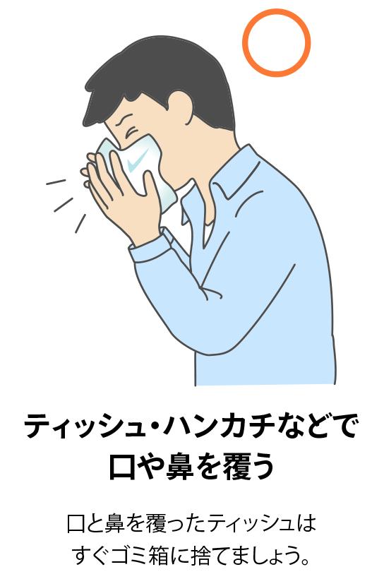 ティッシュ・ハンカチなどで口や鼻を覆う:口と鼻を覆ったティッシュはすぐゴミ箱に捨てましょう。