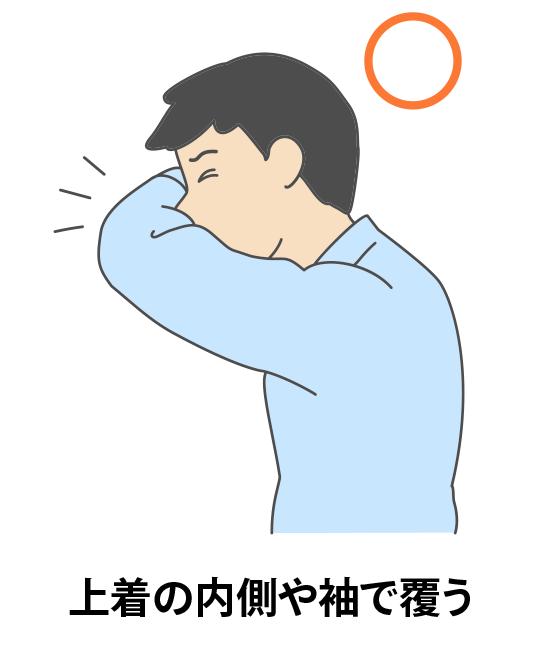 上着や内側の袖で覆う
